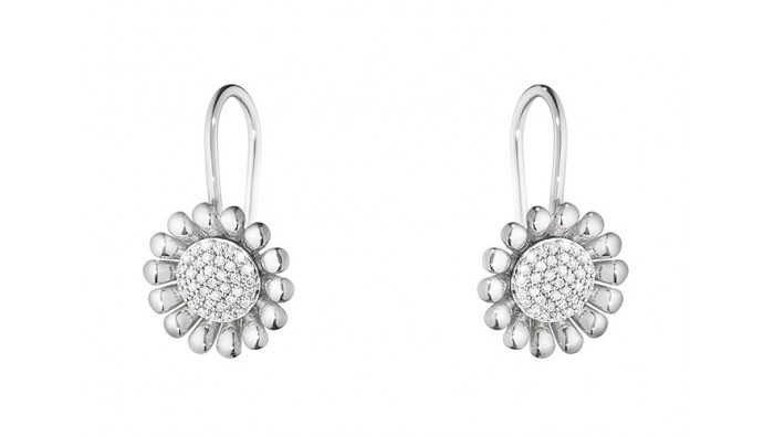 Georg Jensen Sunflower øreringe i sterling sølv med diamanter
