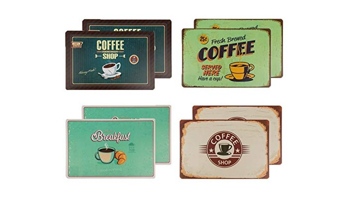Retro Dækkeservietter – 8 x Coffee Retro Design