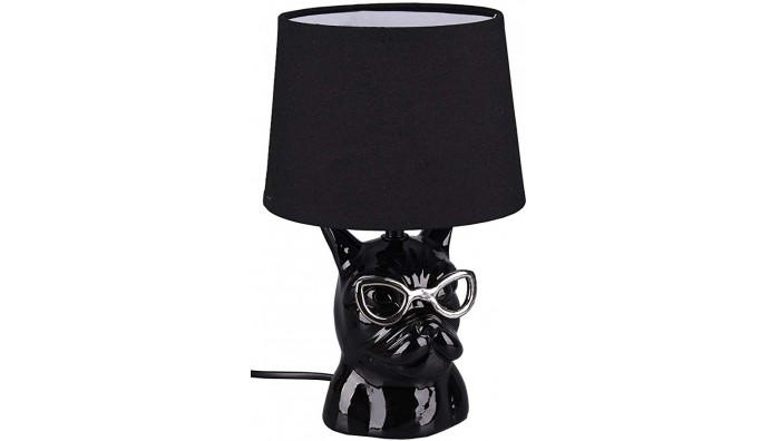 Reality Dosy Bulldog Design Bordlampe I Keramik - Sort