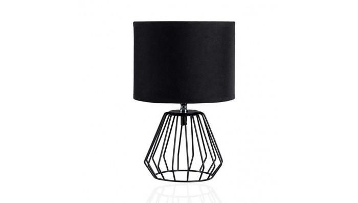 Moderne Shiny Diamond Design Bordlampe Inkl. Stofskærm - Sort